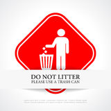 Μην ρυπάνετε το κόκκινο σημάδι Στοκ Φωτογραφία