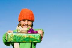 对负被包裹的儿童礼品 免版税库存照片