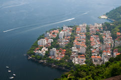 从糖面包山,里约热内卢的看法 免版税图库摄影