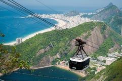 Άποψη Ρίο ντε Τζανέιρο από το καλώδιο αυτοκινήτων Στοκ Φωτογραφία