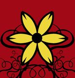背景卷曲装饰花红色黄色 库存照片