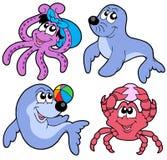 动物收集逗人喜爱海洋多种 免版税库存图片