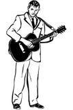 导航弹一把声学吉他的一个人的剪影 免版税图库摄影