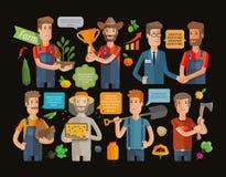 Τα επίπεδα εικονίδια γεωργίας αγροτών και κηπουρών καθορισμένα την απομονωμένη διανυσματική απεικόνιση Στοκ Φωτογραφία