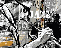 爵士乐纽约街道的喇叭演奏员  免版税库存照片