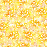 黄色水彩开花无缝的样式 免版税库存图片