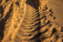 在湿沙子的压印的足迹挖掘机轨道 图库摄影