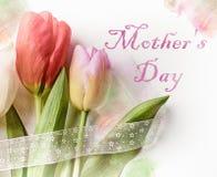 与五颜六色的郁金香的愉快的母亲节贺卡 与美丽的郁金香的欢乐构成 库存图片
