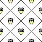 Άνευ ραφής διανυσματικό σχέδιο με τα ζώα αγροκτημάτων Χαριτωμένο υπόβαθρο με τις μπλε κωμικές αγελάδες στο άσπρο σκηνικό Στοκ Εικόνες