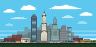 Большой город в дневном времени с детальными характеристиками Стоковое Изображение