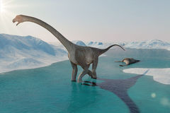 恐龙 史前雪风景,与恐龙的冰谷 北极看法 免版税库存照片