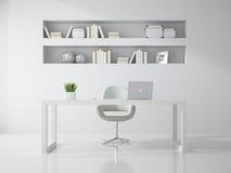 Εσωτερικό της καθαρής άσπρης τρισδιάστατης απόδοσης δωματίων γραφείων Στοκ Φωτογραφία