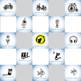Нарисованный рукой комплект логотипа вектора иллюстраций детей Стоковое Изображение RF