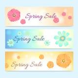 套五颜六色的春季销售横幅 免版税库存照片