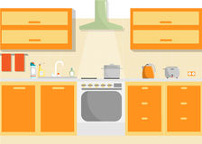 Интерьер вектора кухни с поставками мебели и домочадца Плоская минимальная иллюстрация Стоковые Изображения RF