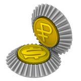 美国美元和俄罗斯卢布的引文 免版税库存图片