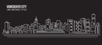 Линия дизайн здания городского пейзажа иллюстрации вектора искусства - город Ванкувера Стоковое Изображение
