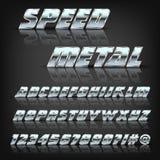 金属化字母表和标志与反射和阴影 设计的字体 免版税图库摄影