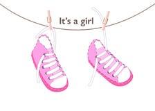 女婴到来贺卡 童鞋传染媒介背景 免版税库存图片