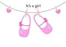 女婴到来贺卡 童鞋传染媒介背景 库存图片