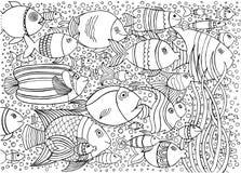 与许多鱼的手拉的背景在水中 海洋生活设计为放松和凝思 库存图片