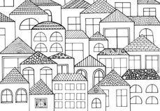 手拉有与很多房子,有许多窗口的家的墨水背景 免版税库存图片