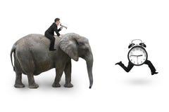 Άτομο που χρησιμοποιεί τον ελέφαντα οδήγησης ομιλητών μετά από το ξυπνητήρι Στοκ Εικόνες