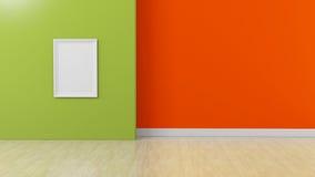 在绿色桔黄色内部背景的白色框架 免版税库存照片