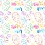 复活节彩蛋手拉的象假日背景的无缝的样式 免版税库存图片