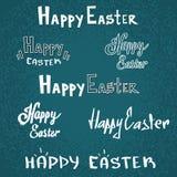 愉快的复活节假日文本字体剪影集合收藏 库存图片