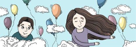 在云彩的男孩和女孩飞行 免版税库存图片