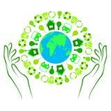 Απεικόνιση της γης με τα πράσινα εικονίδια Στοκ Φωτογραφίες