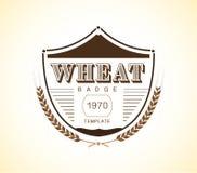 葡萄酒麦子徽章设计模板 传染媒介股票 免版税库存照片
