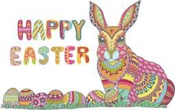 五颜六色的愉快的复活节贺卡用五颜六色的复活节彩蛋和兔宝宝 免版税图库摄影