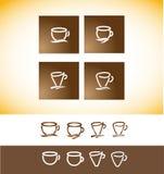 Чертеж линии контура чашки логотипа кофе Стоковое Фото