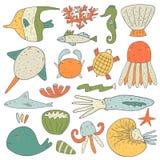 逗人喜爱的手拉的乱画海洋动物收藏 库存照片