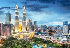 Горизонт Куала Лумпур, Малайзии Стоковое Изображение