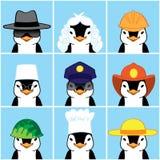 Милые пингвины различных профессий Стоковые Фотографии RF