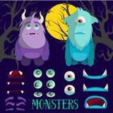 传染媒介套动画片妖怪字符 在平的样式的五颜六色的例证 设计元素,比赛的,孩子象 免版税库存照片