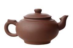 在白色背景的陶瓷茶壶 库存照片