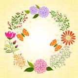 春天五颜六色的花和蝴蝶 图库摄影