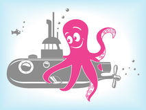 动画片章鱼和潜水艇传染媒介例证 免版税库存图片