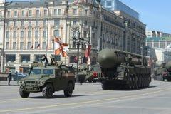 游行排练以纪念胜利天在莫斯科 图库摄影