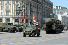 游行排练以纪念胜利天在莫斯科 库存图片