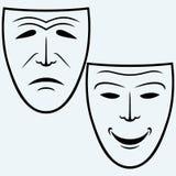 喜剧和悲剧戏剧面具 免版税库存图片