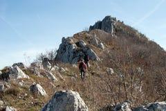 登山家上升 免版税库存照片