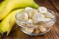 切好的香蕉 免版税库存照片