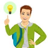 指向手指的年轻学生男孩有的电灯泡想法 库存图片