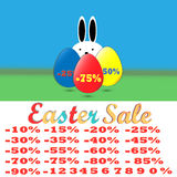 愉快的复活节销售集合、模板百分之和字体,数字 免版税图库摄影