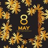 金黄箔花卉贺卡-愉快的母亲节-金闪闪发光与纸的假日背景切开了框架花 免版税库存照片